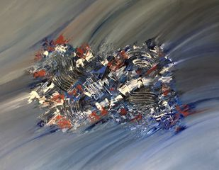 Coalesce-001 by Gauri Monga, Abstract Painting, Acrylic on Canvas, Gray color