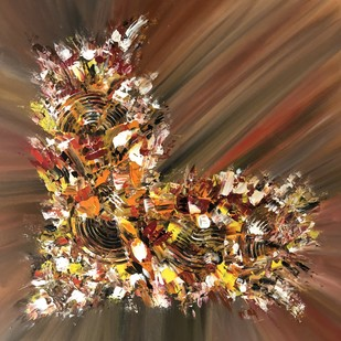 Coalesce-003 by Gauri Monga, Abstract Painting, Acrylic on Board, Brown color