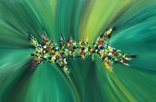 Coalesce-005 by Gauri Monga, Abstract Painting, Acrylic on Canvas, Green color