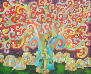 The wishing tree by Chaitali Chatterjee, Expressionism Painting, Oil on Canvas, Brown color