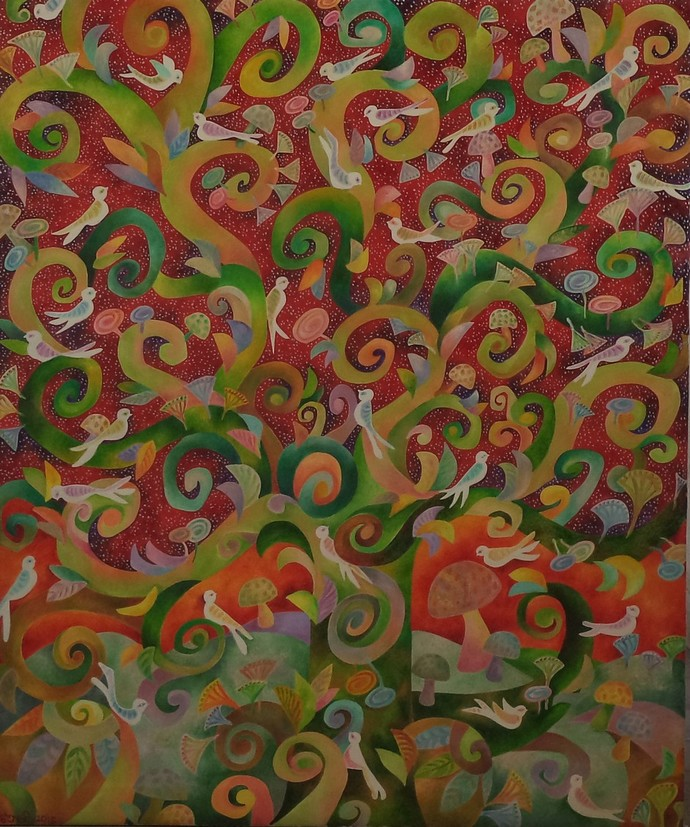 life giving tree by Chaitali Chatterjee, Decorative Painting, Oil on Canvas, Brown color