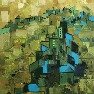 untitled by Karishma Wadhwa, Geometrical Painting, Oil on Canvas, Green color