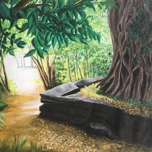 Banyan tree in forest. by S.SHIVAPRASAD, Impressionism Painting, Acrylic on Paper, Green color
