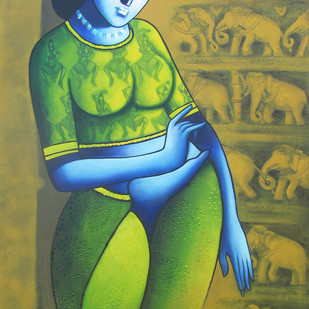 Celestial Beauty...Sursundari 1 by Pratiksha Bothe, Expressionism Painting, Acrylic on Canvas, Green color