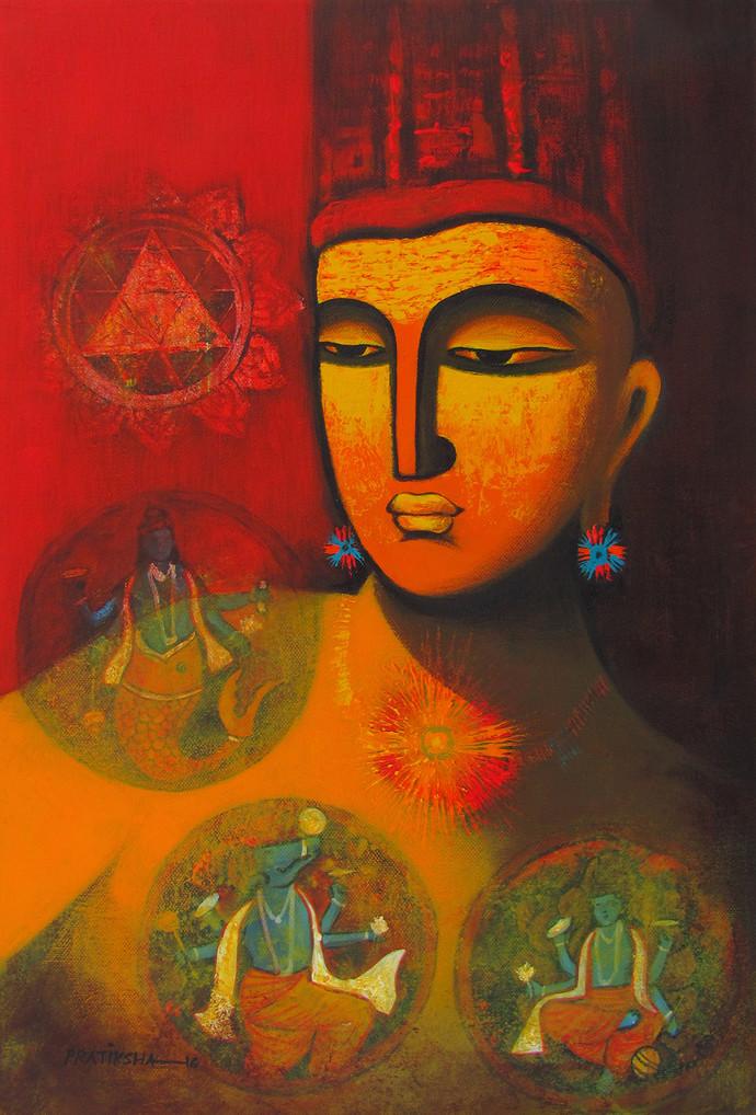 Lord Vishnu by Pratiksha Bothe, Decorative Painting, Acrylic on Canvas, Brown color