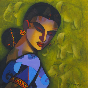 Celestial Beauty... Sursundari by Pratiksha Bothe, Expressionism Painting, Acrylic on Canvas, Green color