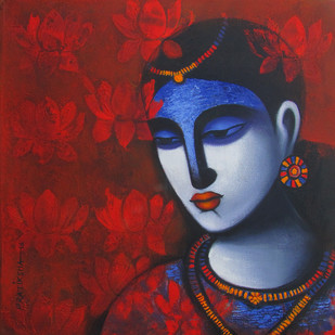Celestial Beauty... Sursundari by Pratiksha Bothe, Decorative Painting, Acrylic on Canvas, Brown color