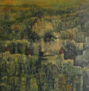 Girl in the castle by Anita Goyal , Expressionism Painting, Acrylic on Canvas, Green color