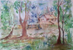 Village Landscape by Rakhi Bose, Impressionism Painting, Watercolor on Paper, Brown color