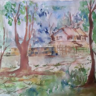 Village Landscape by Rakhi Bose, Impressionism Painting, Watercolor on Paper, Brown color