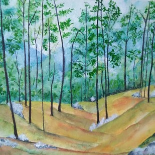 Himachal Beauty by Rakhi Bose, Impressionism Painting, Watercolor on Paper, Cyan color