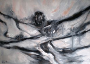 Close to Home by Deepa Kern, Abstract Painting, Oil on Canvas, Gray color