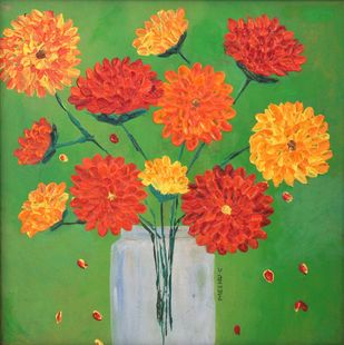 ALL THINGS GROW WITH LOVE by Meenakshi , Expressionism Painting, Acrylic on Board, Green color
