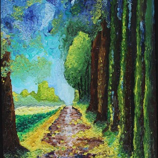 THE FOREST by Meenakshi , Expressionism Painting, Oil on Canvas, Green color