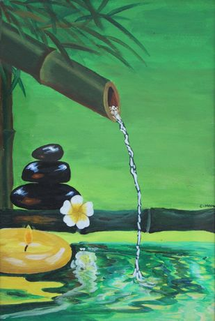 THE MINDFUL FLOW by Meenakshi , Conceptual Painting, Acrylic on Paper, Green color