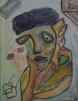 Self Potrait by Debajyoti Roy, Expressionism Painting, Acrylic on Canvas, Brown color