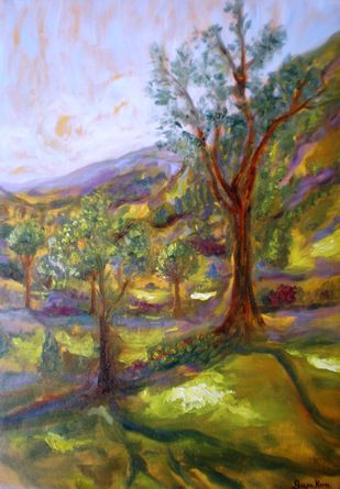 Evening shadows in the Nilgiris by Deepa Kern, Impressionism Painting, Oil on Canvas, Brown color