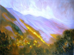 Sunset on the Ranges by Deepa Kern, Impressionism Painting, Oil on Canvas, Cyan color