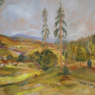 A View of Ootacamund, Nilgiris by Deepa Kern, Impressionism Painting, Oil on Canvas, Brown color