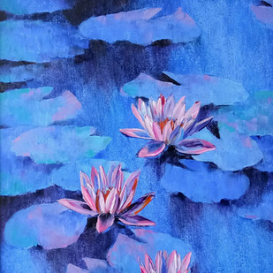 Waterlilies - 105 by Swati Kale, Impressionism Painting, Oil on Canvas, Blue color