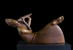 Awaiting the Arrow by Rajendra Pradhan, Art Deco Sculpture | 3D, Bronze, Black color