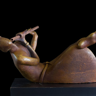 Awaiting the Arrow by Rajendra Pradhan, Art Deco Sculpture | 3D, Bronze, Black color