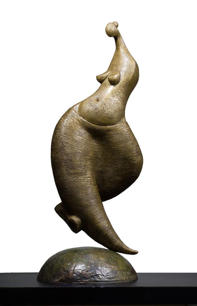 Nartaki - the danseuse by Rajendra Pradhan, Art Deco Sculpture | 3D, Bronze, White color