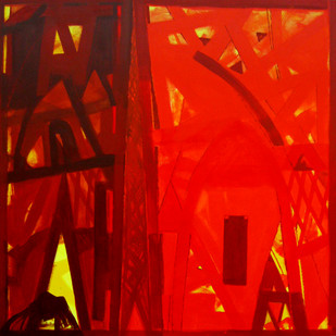 Nature Moods by Ramesh Anand , Abstract Painting, Acrylic on Canvas, Red color