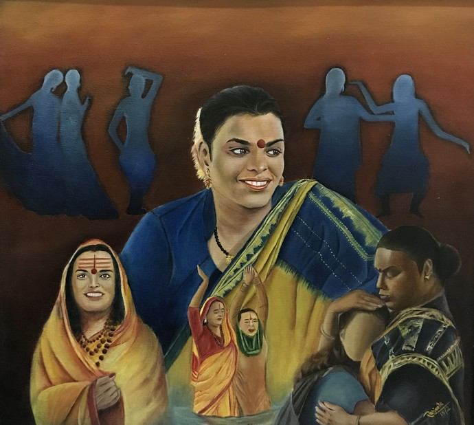 Journey of a gender by Ranjeeta verma, Impressionism Painting, Oil on Canvas, Brown color