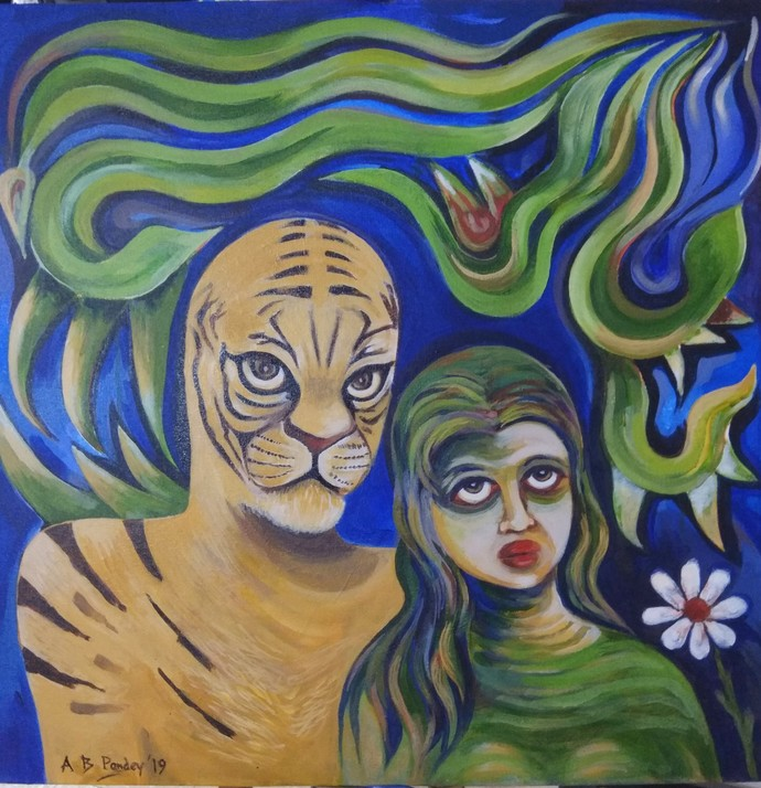 Captivity by A B PANDEY, Expressionism Painting, Acrylic on Canvas, Green color