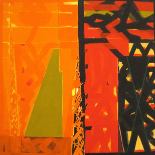 Nature Moods by Ramesh Anand , Abstract Painting, Acrylic on Canvas, Orange color