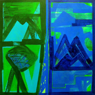 Nature Moods by Ramesh Anand , Abstract Painting, Acrylic on Canvas, Green color