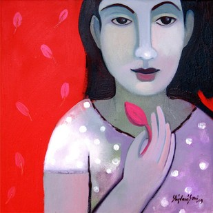 with nature by Shivani Soni , Expressionism Painting, Oil on Canvas, Red color