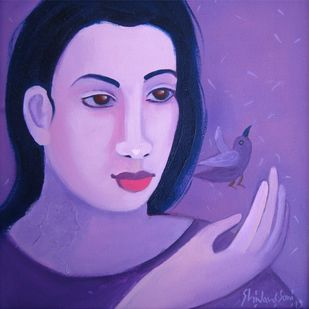 with nature by Shivani Soni , Expressionism Painting, Oil on Canvas, Blue color