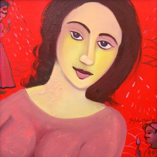 New woman by Shivani Soni , Expressionism Painting, Oil on Canvas, Red color