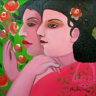 Best friends cum sisters by Shivani Soni , Expressionism Painting, Oil on Canvas, Pink color