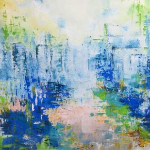 Glass City by Tvesha Singh, Abstract Painting, Acrylic on Canvas, Cyan color