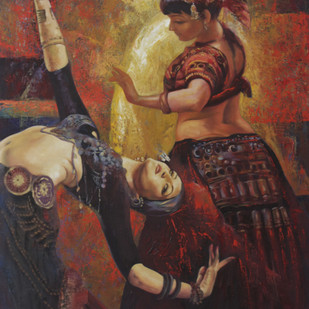 Flamenco-II by Ashis Mondal, Expressionism Painting, Oil on Canvas, Brown color