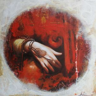 Rest by Ashis Mondal, Expressionism Painting, Acrylic on Canvas, Brown color