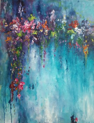 Relaxing time by Dilraj Kaur, Expressionism Painting, Acrylic on Canvas, Cyan color