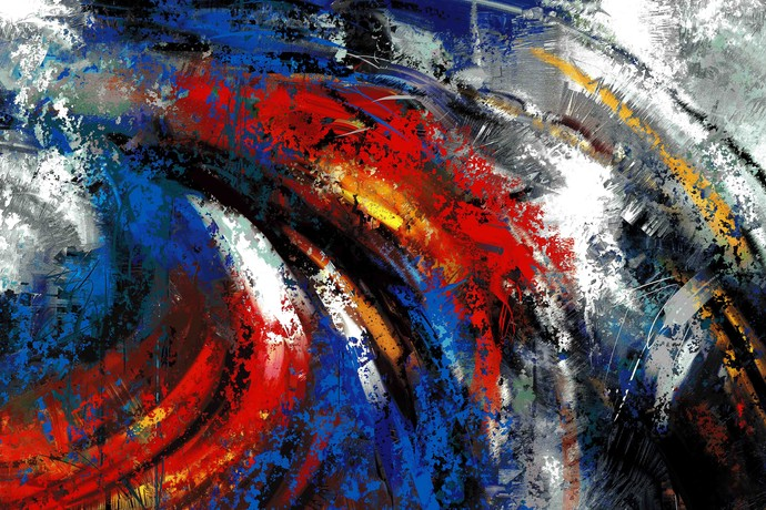 Red Blue Ripple Digital Print by The Print Studio,Abstract