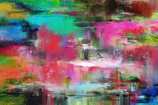 Faded green pink Digital Print by The Print Studio,Abstract