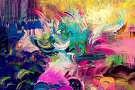 Vibrant color strokes Digital Print by The Print Studio,Abstract