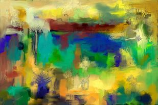 Yellow Green Abstract Digital Print by The Print Studio,Abstract
