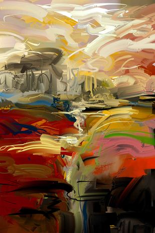 Maroon yellow strokes Digital Print by The Print Studio,Abstract
