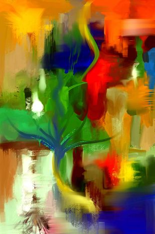 Green Red Strokes Digital Print by The Print Studio,Abstract