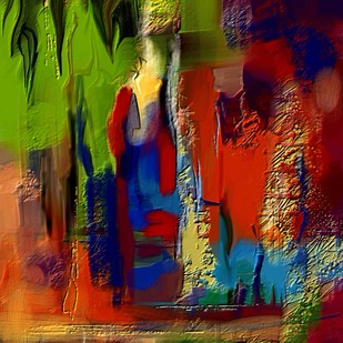 Green Red - 22 by The Print Studio, Abstract Painting, Digital Print on Canvas, Brown color
