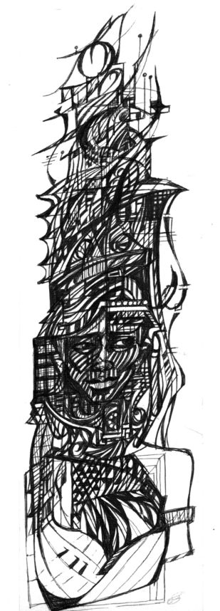 Line Flow 1 by Sudeep, Illustration Drawing, Pen on Paper, Gray color