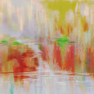 Pale Yellow and Red Digital Print by The Print Studio,Abstract