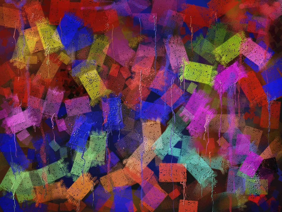 Colorful Blocks by The Print Studio, Abstract Painting, Digital Print on Canvas, Brown color